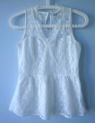 Vero Moda biała bluzka koronkowa gipiura baskinka...