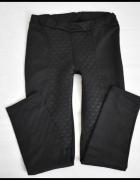 Czarne tregginsy spodnie na gumce pikowane 38 M...