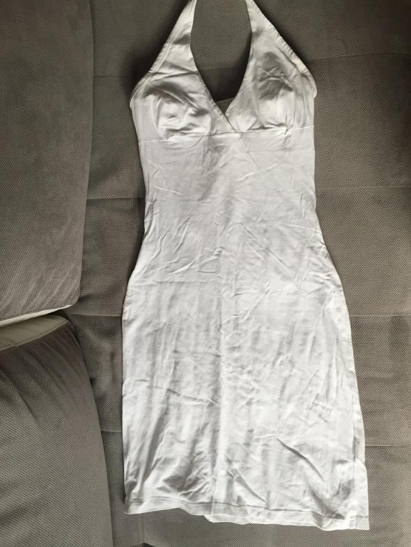 Suknie i sukienki Biała sukienka dopasowana duży dekolt uniwersalny rozmiar