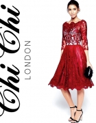 Asos Chi Chi London balowa sukienka bordowa 42 XL koronkowa...