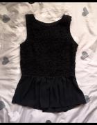 Reserved czarna bluzka z baskinką elegancka L 40 koronka szyfon...