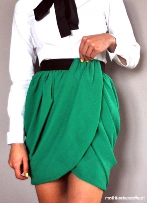 Spódnice Zielona spódnica tulipan H&M z szyfonu 44 zakładana H&M by Night