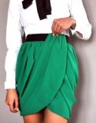 Zielona spódnica tulipan H&M z szyfonu 44 zakładana H&M by Nigh...
