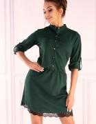 Sukienka z ozdobną koronką zielona żółta czarna S M L XL...