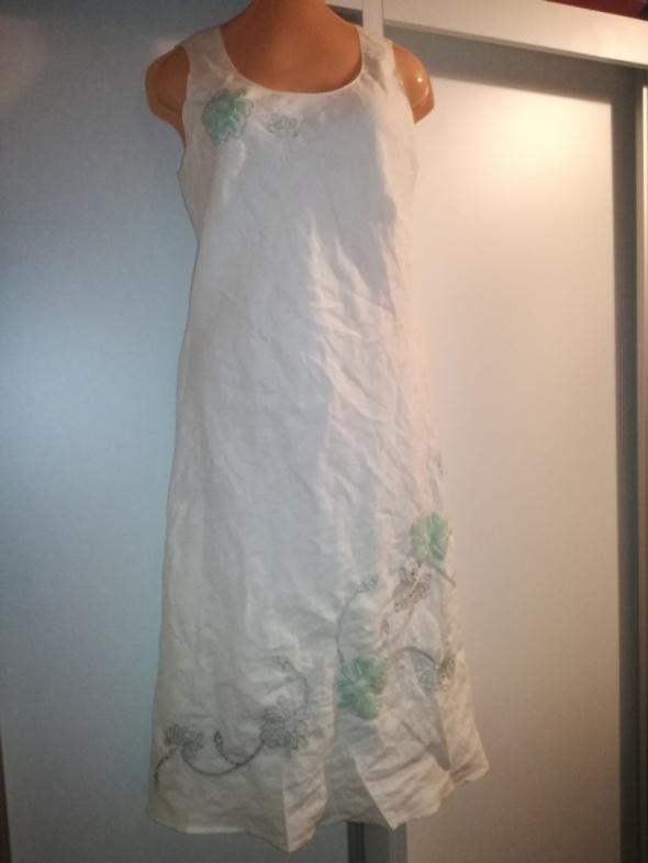 Lniana sukienka rozmiar 40 ozdobiona kwiatami len