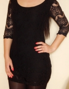 Koronkowa sukienka tunika czarna XS S...