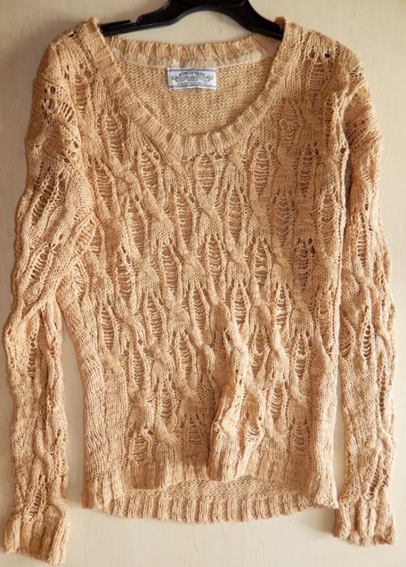 Karmelowy ażurowy Atmosphere M sweter...