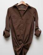 Brązowa długa koszula bawełniana Bershka S M...