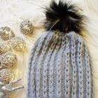 wełniana szara czapka