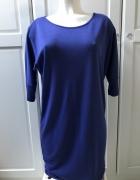 Niebieska bluzka kobaltowa tunika oversize zip...