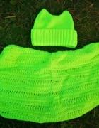 Neonowy żółty zestaw szalik komin i czapka z rogami nowy hit