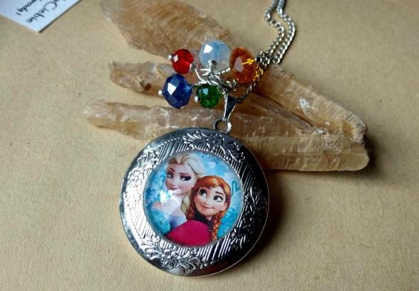 Naszyjniki Anna i Elsa Frozen Kraina Lodu sekretnik wisior na zdjęcie naszyjnik