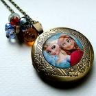 Anna i Elsa Frozen Kraina Lodu sekretnik wisior na zdjęcie naszyjnik