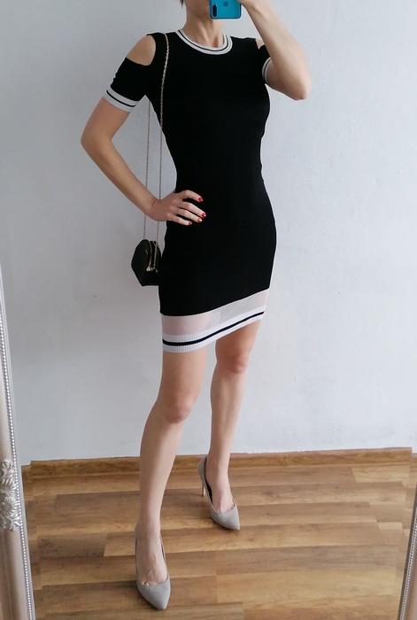 Atmosphere czarna sukienka prążki S...