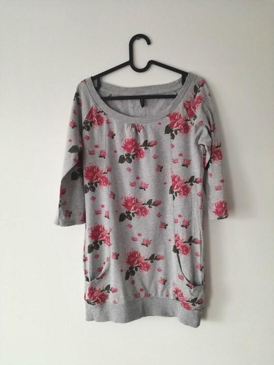 Bluzki New Yorker bluzka szara kwiaty oversize