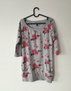 New Yorker bluzka szara kwiaty oversize...