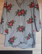 Wiosenna koszula paski kwiaty czarno biały oversize...