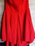 Gorsetowa asymetryczna sukienka czerwona wesele...
