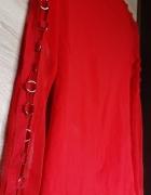 Czerwona bluzka golf siatka kółeczka sexy...