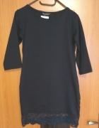 Czarna nowa sukienke dresowa z koronka S M...