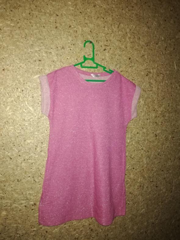 Różowa błyszcząca trapezowa sukienka 122 cm