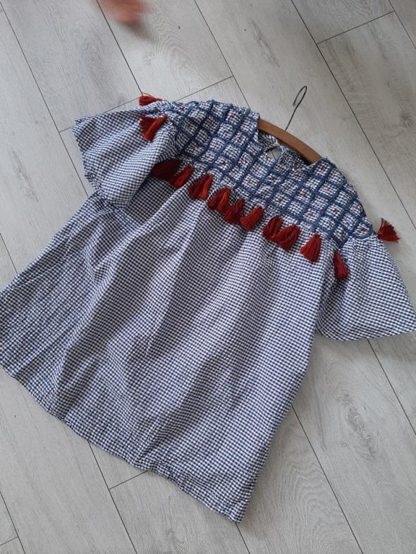 Zara chwosty boho kratka tunika bluzka sukienka