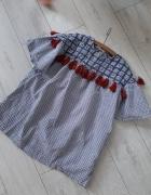 Zara chwosty boho kratka tunika bluzka sukienka...