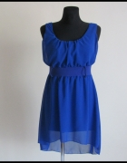 Sukienka z podszewką niebieska 38 M dłuższy tył...