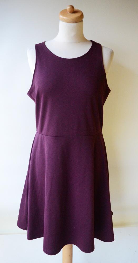 Sukienka H&M L 40 Bordowa Rozkloszowana Pracy...