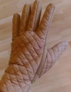Rękawiczki damskie beżowe pikowane...