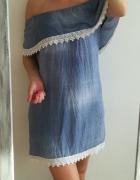 Niebieska sukienka off shoulders koronka M...