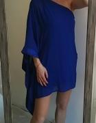 Lipsy kobaltowa sukienka peleryna M L...