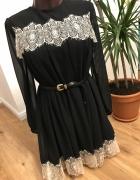 przepiękna sukienka Topshop czarna z koronkami