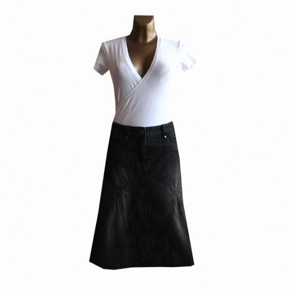 Spódnice Czarna Spódnica Dżinsowa S M