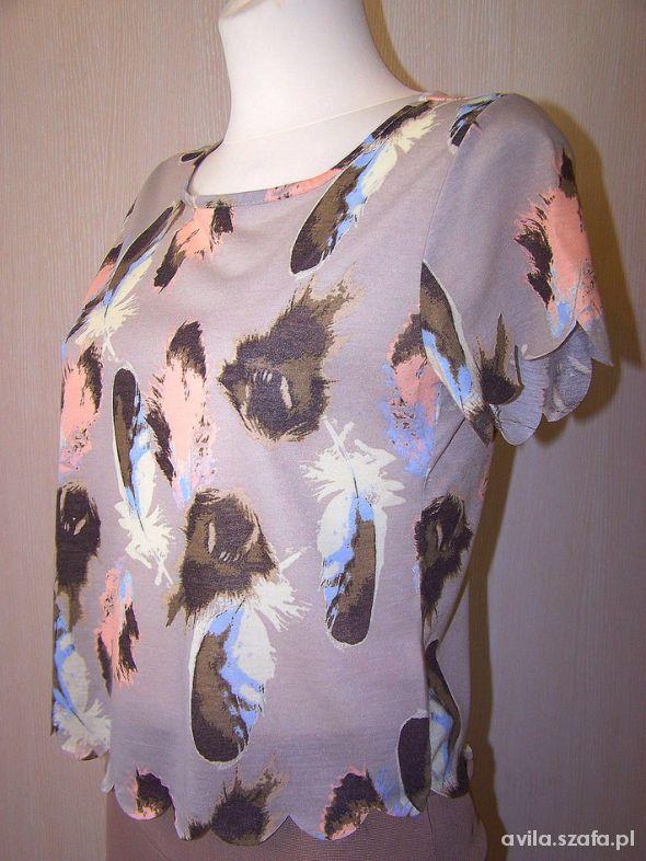 Bluzki Bluzka Nude w Pastelowe Pióra Do Spodni Chino