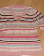 NEXT sweter w kolorowe paski dla puszystej 46 48...