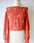 Bluzka Gina Tricot XS 34 Hiszpanka Kwiaty Czerwona Top Krótka...