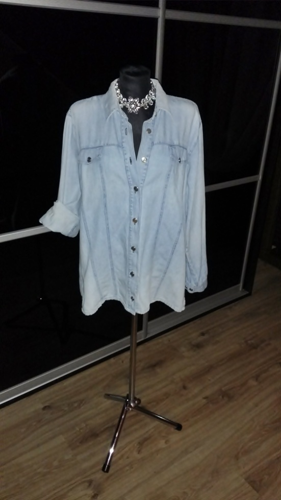 Koszule Subtelna jeansowa koszula L XL XXL