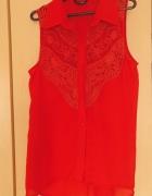 Czerwona koszula mgiełka koronka gipiura H&M