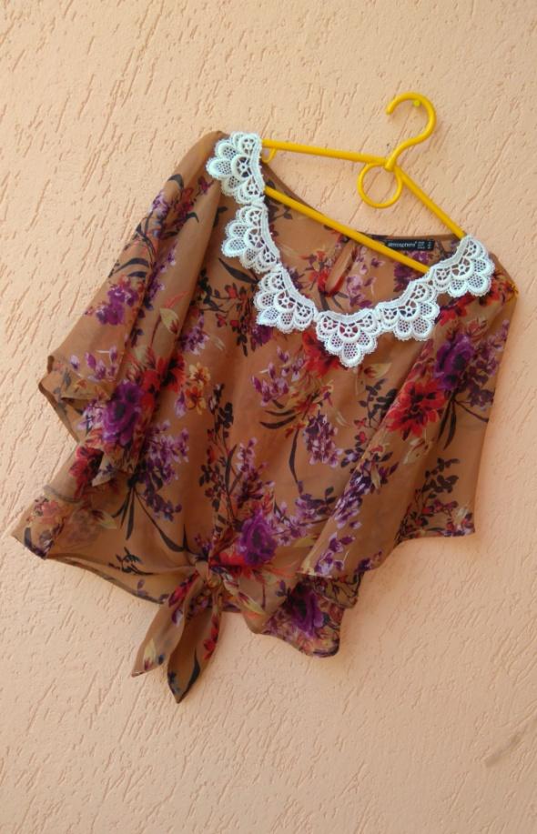 Koszule Koszula mgielka crop top kwiaty floral boho