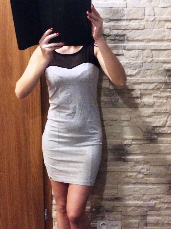 Sukienka szara wstawka siateczka dresowa S