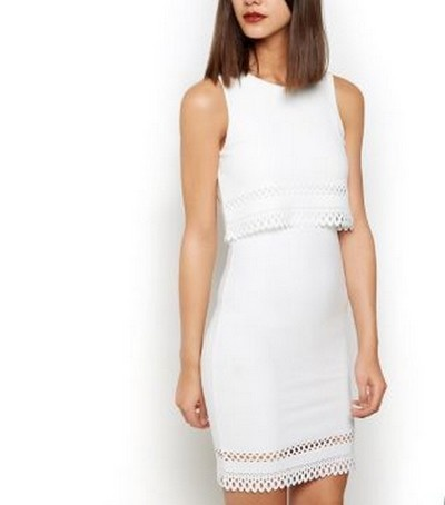 Warstwowa sukienka wycięcia ażurowa New Look...