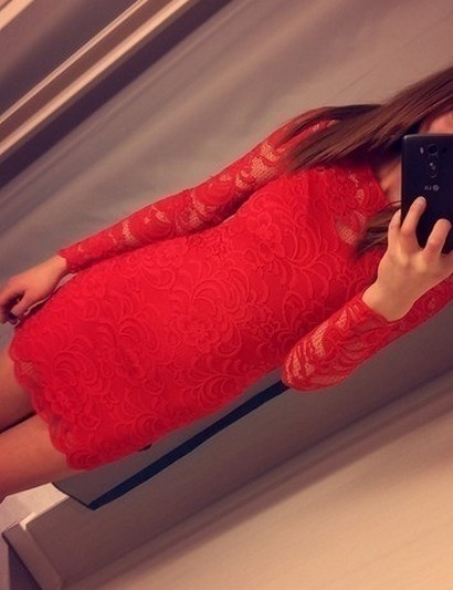 Czerwona koronkowa sukienka koronka lace H&M...