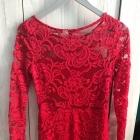 Czerwona koronkowa sukienka koronka lace H&M
