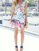 Żakardowa kolorowa sukienka Zara wzory mazgaje lato...