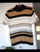 Primark paski retro sweter prążki krótki rękaw paski...