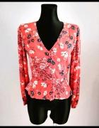 Czerwona bluzka koszula H&M z baskinką kwiaty...