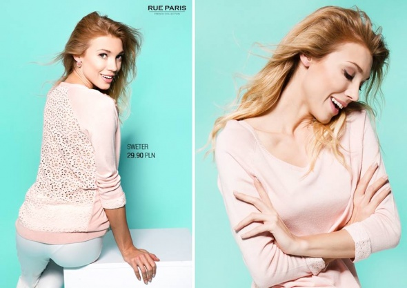 Sweter z koronką pudrowy róż
