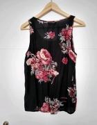Czarna bluzka w kwiaty Vila...