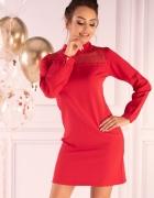 CZERWONA sukienka z koronką S M L XL...